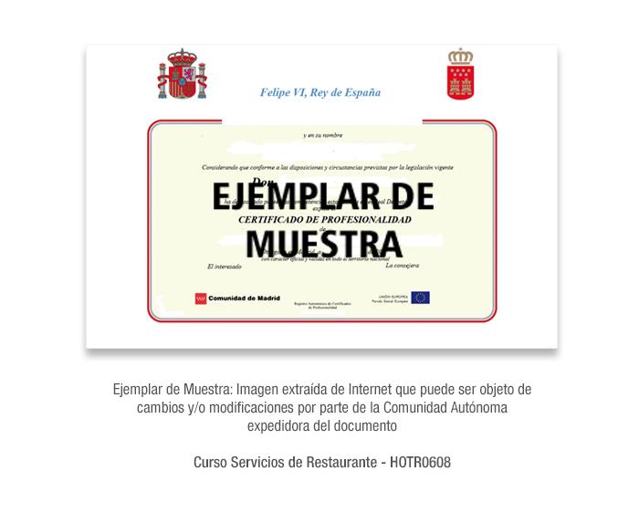 Curso Servicios de Restaurante - HOTR0608 formacion universitaria